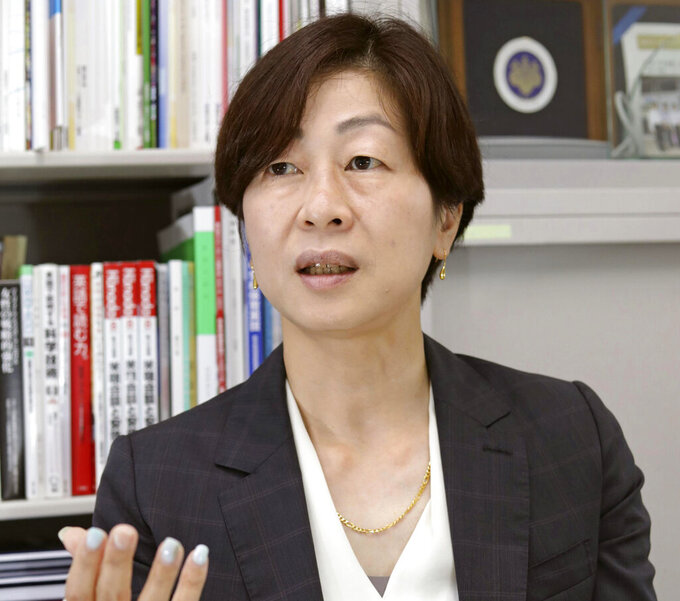 """Japan's Kaori Yamaguchi, an executive member of the Japanese Olympic Committee, speaks during an interview in Tokyo, on May 19, 2021.  Yamaguchi, one of Japan's best-known Olympians and an executive member of the Japanese Olympic Committee says Tokyo has been """"cornered"""" into holding the games in seven weeks in the middle of a pandemic. In an outspoken editorial published Friday, June 4,  by Japan's Kyodo news agency, Yamaguchi said the International Olympic Committee, the Japanese government, and local organizers, are ignoring widespread opposition — 50-80% depending on the poll — to the Olympics from the Japanese public. (Kyodo News via AP)"""