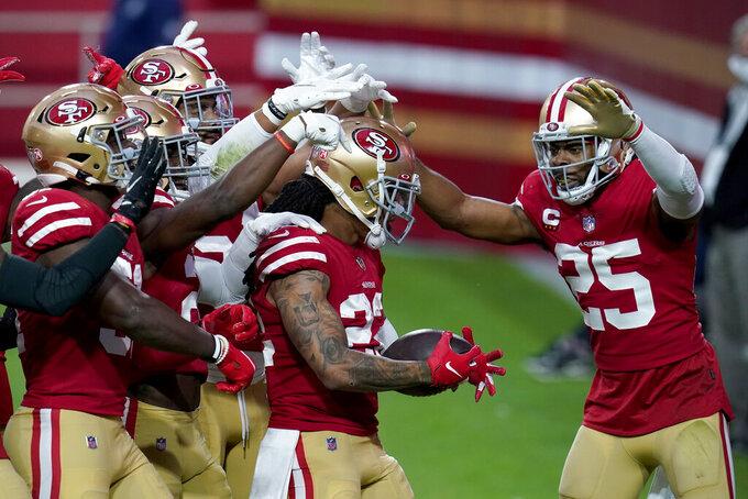 San Francisco 49ers cornerback Jason Verrett (22) celebrates his fumble recover against the Washington Football Team during the first half of an NFL football game, Sunday, Dec. 13, 2020, in Glendale, Ariz. (AP Photo/Ross D. Franklin)