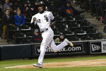 Chicago White Sox's Tim Anderson scores during the fifth inning of a baseball game against the Kansas City Royals, Monday, April 15, 2019, in Chicago. (AP Photo/Matt Marton)