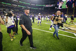 Minnesota Vikings head coach Mike Zimmer walks off the field after an NFL preseason football game against the Seattle Seahawks, Sunday, Aug. 18, 2019, in Minneapolis. The Vikings won 25-19. (AP Photo/Bruce Kluckhohn)