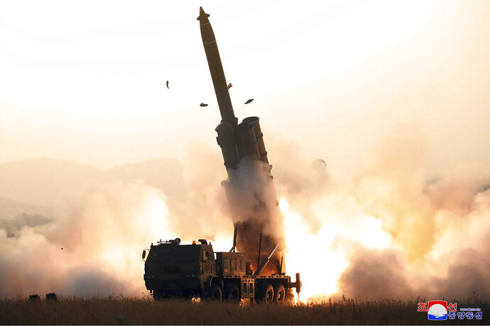 This Thursday, Oct. 31, 2019, photo provided by the North Korean government,  shows what it says a test firing of a super-large rocket launcher by the Academy of Defense Science in North Korea. Independent journalists were not given access to cover the event depicted in this image distributed by the North Korean government. The content of this image is as provided and cannot be independently verified. Korean language watermark on image as provided by source reads: