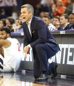 Virginia head coach Tony Bennett reacts to a play during an NCAA college basketball game against Columbia in Charlottesville, Va., Saturday, Nov. 16, 2019. (AP Photo/Andrew Shurtleff)
