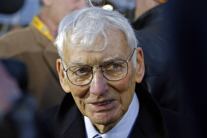 File-This Dec. 22, 2012, file photo shows Pittsburgh Steelers chairman emeritus Dan Rooney attending the unveiling of a marker commemorating the 40th anniversary of the