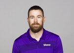 FILE - This is a 2019 file photo showing  Klint Kubiak of the Minnesota Vikings NFL football team. The Vikings will keep their playbook in the family with the promotion of Klint Kubiak to offensive coordinator. His father, Gary Kubiak, retired last month. (AP Photo/File)