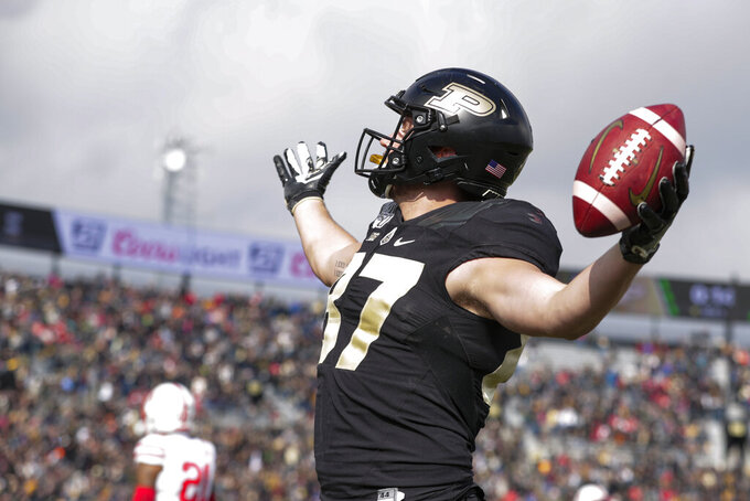 Purdue tight end Payne Durham (87) celebrates a touchdown against Nebraska during the first half of an NCAA college football game in West Lafayette, Ind., Saturday, Nov. 2, 2019. (AP Photo/Michael Conroy)
