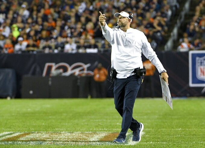 Chicago Bears head coach Matt Nagy reacts during the first half of an NFL football game against the Green Bay Packers Thursday, Sept. 5, 2019, in Chicago. (AP Photo/David Banks)