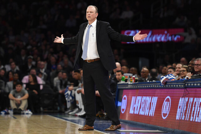 New York Knicks coach Mike Miller reacts during the second half of the team's NBA basketball game against the Utah Jazz in New York, Wednesday, March 4, 2020. The Jazz won 112-104. (AP Photo/Sarah Stier)