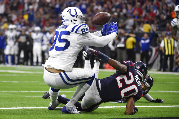 Houston Texans strong safety Justin Reid (20) breaks up a pass intended for Indianapolis Colts tight end Eric Ebron (85) during the first half of an NFL wild card playoff football game, Saturday, Jan. 5, 2019, in Houston. (AP Photo/Eric Christian Smith)