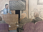 This courtroom sketch depicts Minneapolis police officer Matthew Harrity, left, as he testifies Thursday, April 18, 2019, in Minneapolis, Minn., during the murder trial of former Minneapolis police officer Mohamed Noor, right, his former partner who fatally shot an unarmed Australian woman, Justine Ruszczyk Damond, in July, 2017, after she called 911 to report a possible sexual assault behind her home. Harrity testified Thursday that he heard a thump on the officers' squad car right before the shooting and feared a possible ambush. Harrity's testimony echoed Noor's claim that he was startled by a noise and feared ambush when he fired a single shot killing Damond. Also listening to Harrity's testimony is defense attorney Thomas Plunkett. (Cedric Hohnstadt via AP)