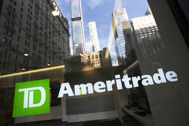 FILE - In this Nov. 25, 2019, file photo a sign for TD Ameritrade is shown on an office window for the brokerage i New York. Online brokerage TD Ameritrade will release its fiscal first-quarter earnings report Tuesday, Jan. 21, 2020. (AP Photo/Mark Lennihan, File)