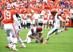 This photo taken Sept. 29, 2018, shows Syracuse kicker Andre Szmyt (91) during a game against Clemson at Memorial Stadium in Clemson, S.C.   Four years ago, Szmyt was playing soccer at his high school in the northern Chicago suburbs, not even on the radar of the school's football coach. Now, he's a star for the 19th-ranked Orange. The 6-1, 195-pound redshirt freshman from Vernon Hills High School is one of three finalists for the Lou Groza Award, given to the nation's top place-kicker. (Dennis Nett/The Post-Standard via AP)