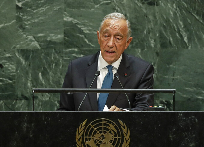 FILE - In this file photo dated Tuesday, Sept. 24, 2019, Portugal's President Marcelo Rebelo de Sousa addresses the 74th session of the United Nations General Assembly, at the United Nations headquarters. The office of the Portuguese president said Tuesday Jan. 12, 2021, that Marcelo Rebelo de Sousa has tested positive for coronavirus although the veteran politician has no symptoms for the COVID-19 disease.(AP Photo/Frank Franklin II, FILE)