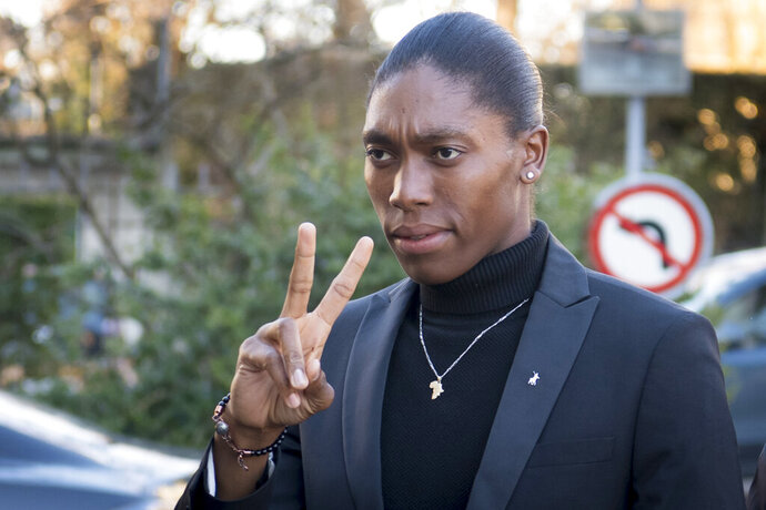 South Africa's runner Caster Semenya, current 800-meter Olympic gold medalist and world champion, arrives for the first day of her hearing at the international Court of Arbitration for Sport, CAS, in Lausanne, Switzerland, Monday, Feb. 18, 2019. Semenya has filed an appeal in the CAS against the International Association of Athletics Federations (IAAF) ruling, forcing female runners to medicate to reduce their testosterone levels for six months before racing internationally. (Laurent Gillieron/Keystone via AP)