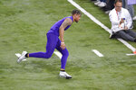 Clemson football player A.J. Terrell runs drills during NFL Pro Day Thursday, March 12, 2020, in Clemson, S.C. (AP Photo/Richard Shiro)
