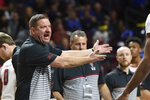 Texas Tech coach Chris Beard gestures during a timeout in the second half of the team's NCAA college basketball game against Creighton on Friday, Nov. 29, 2019, in Las Vegas. (AP Photo/David Becker)