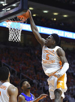Tennessee guard Admiral Schofield (5) dunks during the second half of an NCAA college basketball game against Florida, Saturday, Feb. 9, 2019, in Knoxville, Tenn. (Joy Kimbrough/The Daily Times via AP)