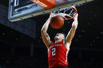 Texas Tech guard Clarence Nadolny dunks the ball during the second half of an NCAA college basketball game against Iowa State, Saturday, Feb. 22, 2020, in Ames, Iowa. Texas Tech won 87-57. (AP Photo/Charlie Neibergall)