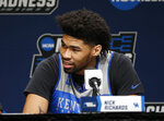 Kentucky's Nick Richards answers questions during a news conference at the NCAA men's college basketball tournament in Jacksonville, Fla., Friday, March 22, 2019. Kentucky faces Wofford in the second round on Saturday.  (AP Photo/Stephen B. Morton)