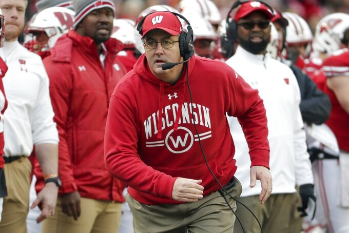 Wisconsin head coach Paul Chryst reacts during the first half of an NCAA college football game against Iowa Saturday, Nov. 9, 2019, in Madison, Wis. (AP Photo/Morry Gash)