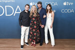 """Daniel Durant, from left, Marlee Matlin, Troy Kotsur and Emilia Jones attend a photo call for """"CODA"""" on Friday, July 30, 2021, at the London Hotel in West Hollywood, Calif. (Photo by Richard Shotwell/Invision/AP)"""