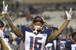 Orlando Apollos receiver Rannell Hall encourages the fans in the stands before the team's Alliance of American Football game against the Atlanta Legends on Saturday, Feb. 9, 2019, in Orlando, Fla. (AP Photo/Phelan M. Ebenhack)