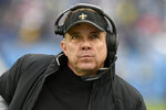 New Orleans Saints head coach Sean Payton watches from the sideline in the second half of an NFL football game against the Tennessee Titans Sunday, Dec. 22, 2019, in Nashville, Tenn. (AP Photo/Mark Zaleski)