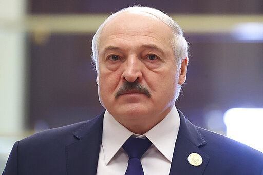In this photo released by the Russian Foreign Ministry Press Service, Belarusian President Alexander Lukashenko arrives to attend the meeting of the Collective Security Treaty Organization (CSTO), in Dushanbe, Tajikistan, Thursday, Sept. 16, 2021.(Russian Foreign Ministry Press Service via AP)
