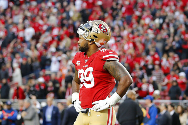 San Francisco 49ers defensive tackle DeForest Buckner (99) reacts during the second half of an NFL football game against the Atlanta Falcons in Santa Clara, Calif., Sunday, Dec. 15, 2019. (AP Photo/Josie Lepe)