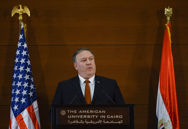 FILE - in this Thursday, Jan. 10, 2019 file photo, U.S. Secretary of State Mike Pompeo, speaks to students at the American University Cairo in the eastern suburb of New Cairo, Egypt.  Pompeo
