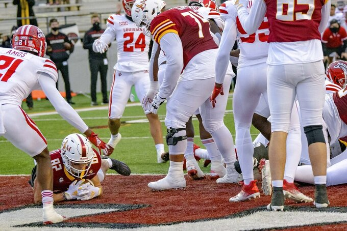 Louisiana-Monroe tight end Zach Rasmussen (82) recovers a fumble for a touchdown in the second half of an NCAA college football game against Louisiana-Lafayette in Monroe, La., Saturday, Nov. 28, 2020. (AP Photo/Matthew Hinton)