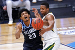 Villanova forward Jermaine Samuels (23) loses the ball as Baylor guard Mark Vital (11) defends in the second half of a Sweet 16 game in the NCAA men's college basketball tournament at Hinkle Fieldhouse in Indianapolis, Saturday, March 27, 2021. (AP Photo/AJ Mast)