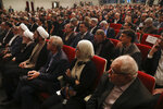 Participants listen to a speaker during the Mustafa scientific award ceremony in Tehran, Iran, Monday, Nov. 11, 2019. Iran on Monday awarded a top prize in the study of science and technology to two U.S.-educated scientists -- UCLA professor Ali Khademhosseini, for his work on the application of nanostructures in the treatment of disease and Umran Inan, a Turkish professor of electrical engineering at Stanford University. (AP Photo/Vahid Salemi)