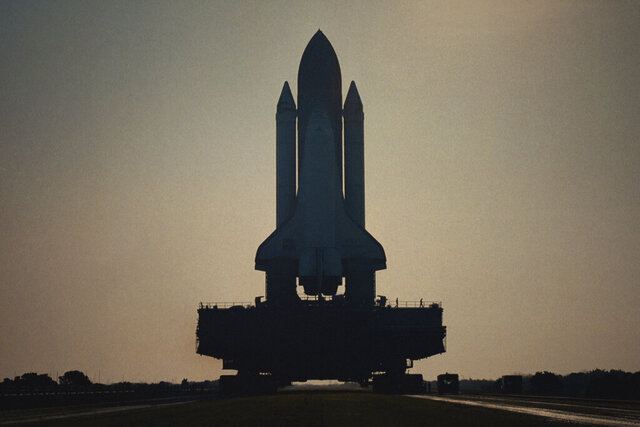 This image released by Netflix shows Challenger 7 on the launchpad in a scene from