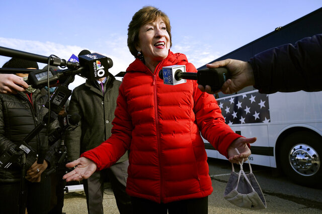 FILE - In this Nov. 4, 2020, file photo Republican Sen. Susan Collins, R-Maine, speaks to reporters in Bangor, Maine. (AP Photo/Robert F. Bukaty, File)