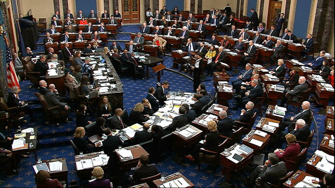 In this image from video, the Senate votes on the amendment offered by Senate Minority Leader Chuck Schumer, D-N.Y., in the impeachment trial against President Donald Trump in the Senate at the U.S. Capitol in Washington, Tuesday, Jan. 21, 2020. (Senate Television via AP)