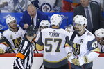 Vegas Golden Knights coach Gerard Gallant disputes a decision by the referees on a goal challenge during the first period against the Winnipeg Jets in Game 1 of the NHL hockey playoffs Western Conference final, Saturday, May 12, 2108, in Winnipeg, Manitoba. (John Woods/The Canadian Press via AP)