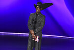 Billy Porter presents the award for outstanding variety talk series at the 71st Primetime Emmy Awards on Sunday, Sept. 22, 2019, at the Microsoft Theater in Los Angeles. (Photo by Chris Pizzello/Invision/AP)