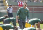 Green Bay Packers head coach Matt LaFleur watches during NFL football training camp Thursday, July 25, 2019, in Green Bay, Wis. (AP Photo/Morry Gash)