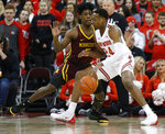 Ohio State's Andre Wesson, right, posts up against Minnesota's Marcus Carr during the first half of an NCAA college basketball game Thursday, Jan. 23, 2020, in Columbus, Ohio. (AP Photo/Jay LaPrete)