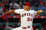 Los Angeles Angels starting pitcher Jose Suarez throws to a Toronto Blue Jays batter during the first inning in the second baseball game of a doubleheader Tuesday, Aug. 10, 2021, in Anaheim, Calif. (AP Photo/Marcio Jose Sanchez)