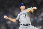 Toronto Blue Jays starting pitcher Jacob Waguespack throws during the first inning of the team's baseball game against the New York Yankees, Friday, Sept. 20, 2019, in New York. (AP Photo/Sarah Stier)