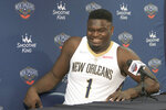 New Orleans Pelicans power forward Zion Williamson smiles during the NBA basketball team's Media Day in New Orleans, Monday, Sept. 27, 2021. (AP Photo/Matthew Hinton)
