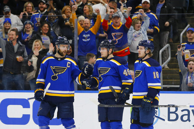 St. Louis Blues' Ivan Barbashev, middle, of Russia, is congratulated by Alex Pietrangelo, left, and Robert Thomas after scoring a goal against the New Jersey Devils during the second period of an NHL hockey game Tuesday, Feb. 18, 2020, in St. Louis. (AP Photo/Billy Hurst)