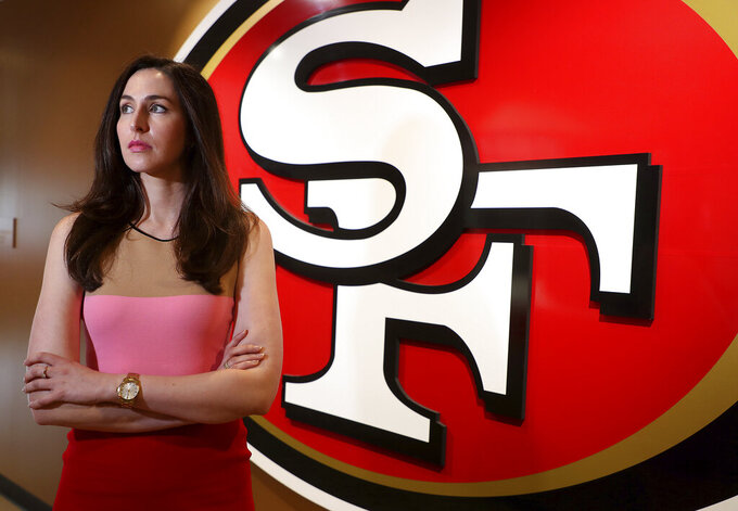 Hannah Gordon, chief administrative officer and general counsel for the San Francisco 49ers is photographed at the team's headquarters on May 14, 2018, in Santa Clara, Calif. During Women's History Month, Gordon reflects on how she navigated a male-dominated space and where the sports world needs to go from here. (Aric Crabb/Bay Area News Group via AP)