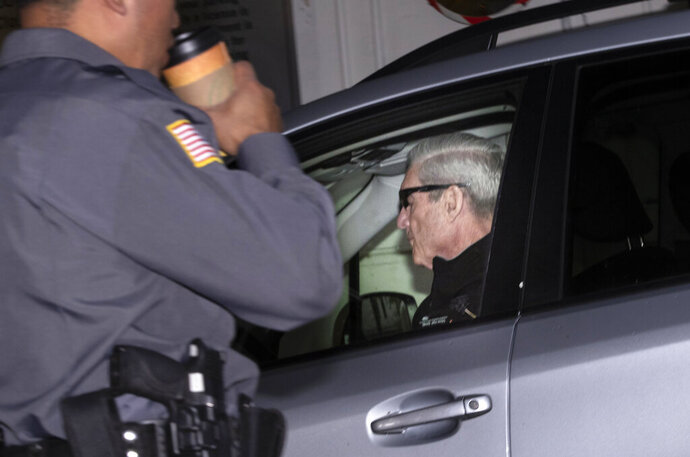 Special counsel Robert Mueller arrives at his office in Washington, Monday, April 15, 2019. Attorney General William Barr told Congress last week he expects to release his redacted version of the special counsel's Trump-Russia investigation report