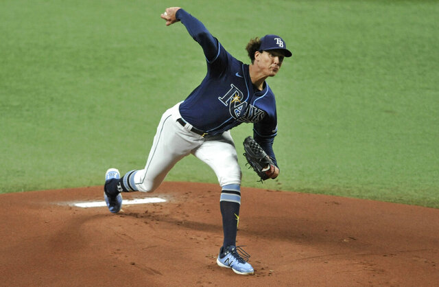Tampa Bay Rays starter Tyler Glasnow pitches to a Boston Red Sox batter during the first inning of a baseball game Saturday, Sept. 12, 2020, in St. Petersburg, Fla. (AP Photo/Steve Nesius)