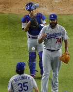 Los Angeles Dodgers relief pitcher Kenley Jansen celebrates their win against the Tampa Bay Rays in Game 3 of the baseball World Series Friday, Oct. 23, 2020, in Arlington, Texas. Dodgers beat the Rays 6-2 to lead the series 2-1 games. (AP Photo/Sue Ogrocki)