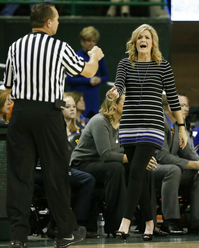 FILE - Texas-Arlington head coach Krista Gerlich argues a foul called against her team in the second half of an NCAA college basketball game against Baylor on Friday, Nov. 13, 2015, in Waco, Texas. Texas Tech announced Tuesday, Aug. 18, 2020 that Gerlich, a former Lady Raiders assistant coach and player who helped the program win its only national championship in 1993, will be the new women's basketball coach. (AP Photo/Tony Gutierrez)