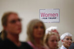 Women listen during a training session for Women for Trump, An Evening to Empower, in Troy, Mich., Thursday, Aug. 22, 2019. President Donald Trump's campaign is rallying and training a corps of female defenders, mindful that Trump's shaky standing with women could sink his hopes of reelection next year. Female surrogates and supporters fanned out across important battlegrounds Thursday in a high-profile push to make the president's case on the economy and to train campaign volunteers. (AP Photo/Paul Sancya)