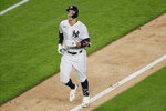 New York Yankees Aaron Judge runs between third and home after hitting a solo home run during the fifth inning of a baseball game against the Atlanta Braves, Tuesday, Aug. 11, 2020, in New York. (AP Photo/Kathy Willens)